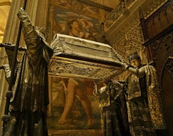 tomb of Christopher Columbus in the Seville Cathedral in Spain
