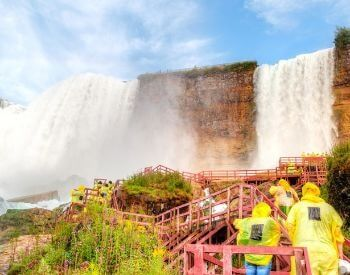 A picture of tourists at Niagara Falls waterfall
