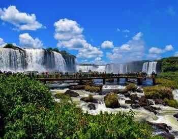 A picture of tourists at Iguazu Falls waterfall
