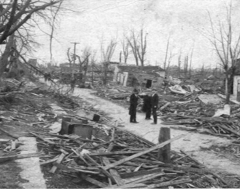 A row of homes destroyed in Murphysboro, Illinois by the Tri-State Tornado