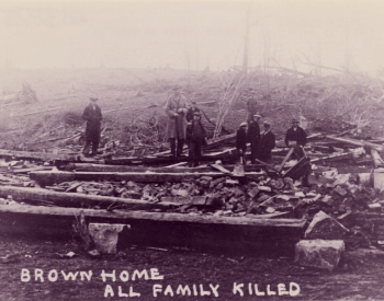 A picture of a home destory by the Tri-State Tornado
