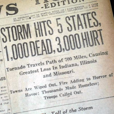 A Picture of a Headline for the Tri-State Tornado