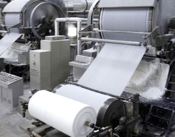 A picture of pulp being turned into paper