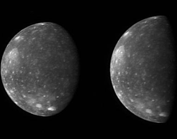 A photo of two images of Callisto taken by New Horizons Long Range Reconnaissance Imager.