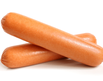 A picture of two raw hot dogs