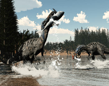 A picture of Suchomimus eating fish