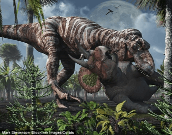 Tyrannosaurus Rex Eating Its Prey