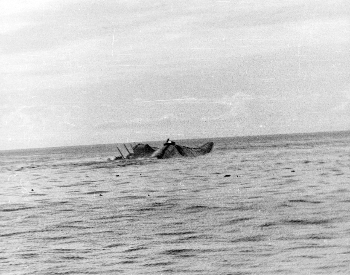 A photo of the United States aircraft carrier Yorktown sinking