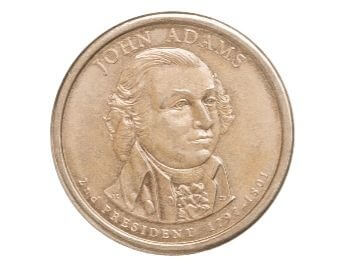 A picture of a U.S. $1 coin with John Adams