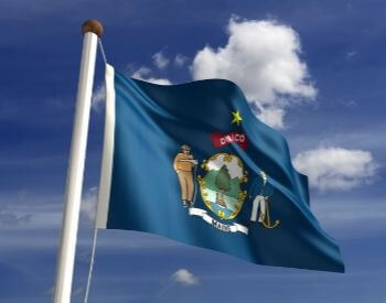 A picture of the U.S. state flag of Maine, USA