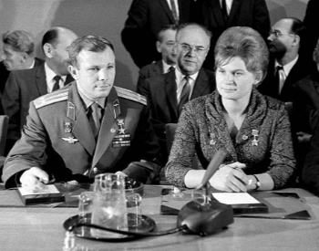 A photo of Valentina Tereshkova and Yuri Gagarin at a press conference