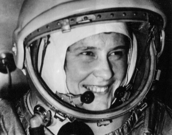 A photo of Valentina Tereshkova in her cosmonaut space suit before her trip
