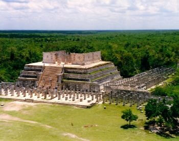 A picture of Chichen Itza taken by a drone in the sky