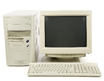 A picture of a vintage desktop computer