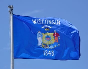 A picture of the flag for the U.S. state of Wisconsin
