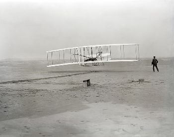 A picture of the first flight of the Wright Flyer