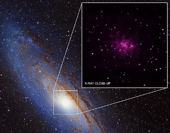 An close-up x-ray photo showing the Andromeda Galaxy center