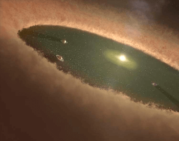 An illustration of a young solar system and a protostar