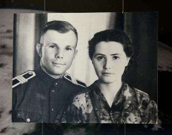 A photo of Yuri Gagarin with his wife Valentina Goryacheva