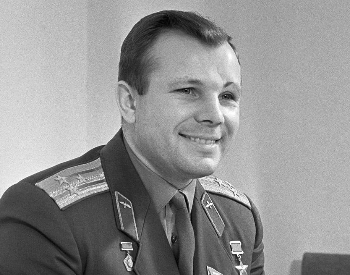 A photo of Yuri Gagarin in his Soviet Air Force uniform in 1966