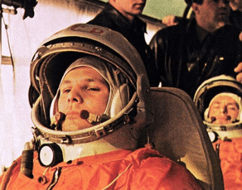 A photo of Yuri Gagarin, the first human in space
